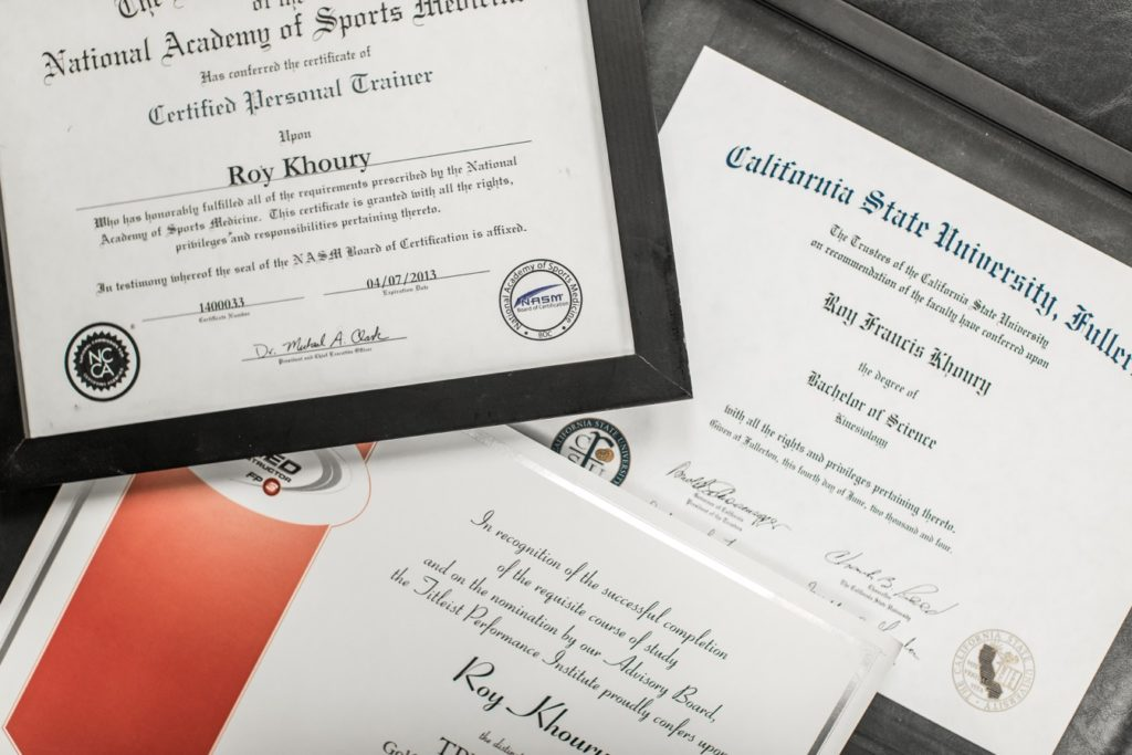 Roy Khoury diplomas and certificates
